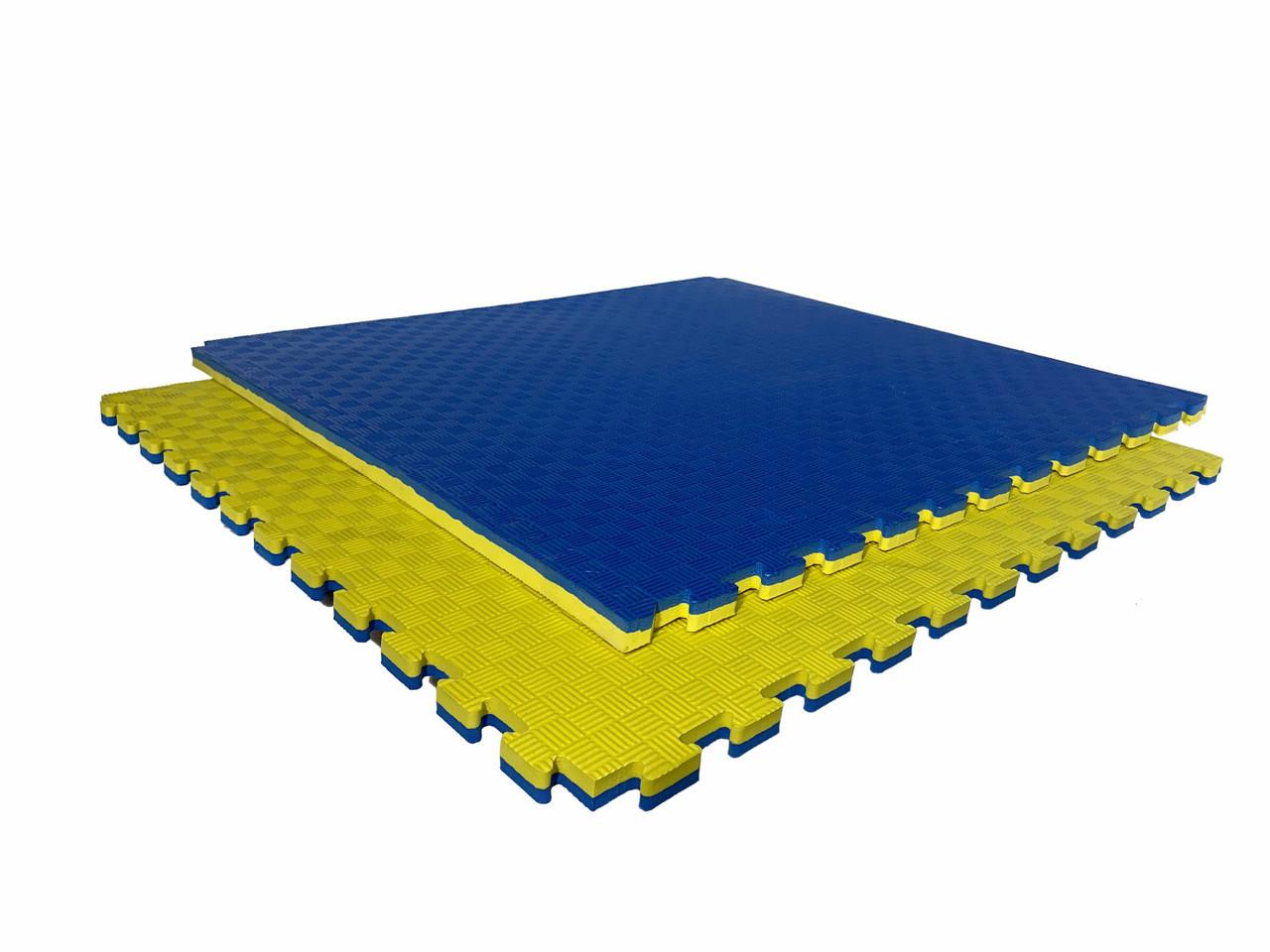 "Мат-татами  ""ласточкин хвост"" 120кг м3 30мм желто-синий Т2"