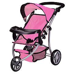 Коляска для кукол Melogo 9377B-T летняя, столик для бутылочки и корзина для игрушек (Розовый)