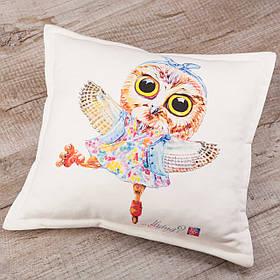Подушка BEU с принтом Сова. # Just be yourself! (... flying?)