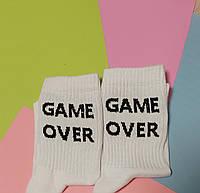 Носки 37-39 размер 6 пар с принтом белые плотные хлопок 6 шт. комплект женские подростковые носочки game over
