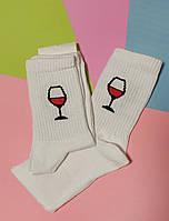 Носки 37-39 размер 6 пар с принтом белые плотные хлопок 6 шт. комплект женские подростковые носочки вино бокал