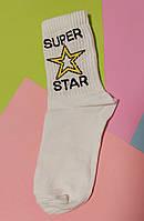 Носки 37-39 размер 6 пар с принтом белые плотные хлопок комплект женские подростковые носочки star звезда