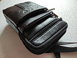 Сумка чоловіча через плече XD 9438 шкіряна для мобільного телефону колір чорний, фото 8