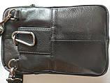 Сумка чоловіча через плече XD 9438 шкіряна для мобільного телефону колір чорний, фото 9