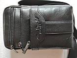 Сумка чоловіча через плече XD 9438 шкіряна для мобільного телефону колір чорний, фото 7