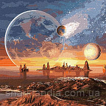 """Картина по номерам """"Космическая пустыня с красками металлик"""" Идейка KHO9541 50х50 см Большой размер"""