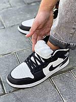 Кроссовки мужские Nike Air Jordan черно белые высокие зимние, кроссовки мужские зимние найк с мехом