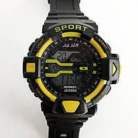 Часы наручные, электронные, с подсветкой. Цвет: KA-749 желтые вставки