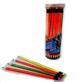 Олівець графітний з ластиком НВ №HW-018+031 неоновий трикутний корпус в банку 48 штук