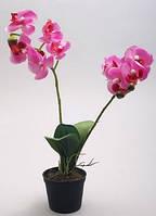 Орхидея искусственная с эффектом натуральных лепестков в пластиковом горшке