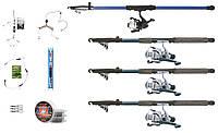 Набор для рыбалки для начинающих на мирную рыбу, 4 спиннинга 2.4 м + катушки