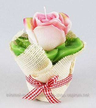 Свеча в керамическом горшочке Роза