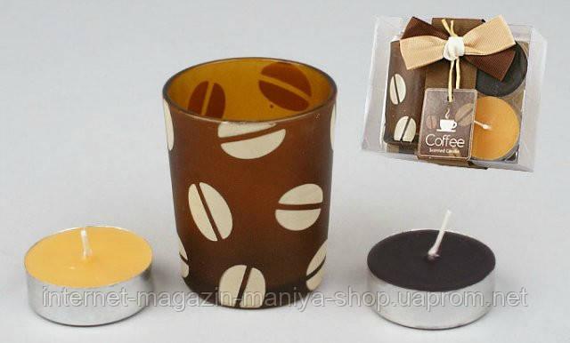 Набор: 2 свечи + стекл. подсвечник