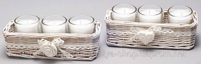 Набор арома свечей в корзинке (3шт)