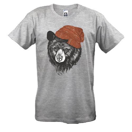 Футболка с медведем в шапке
