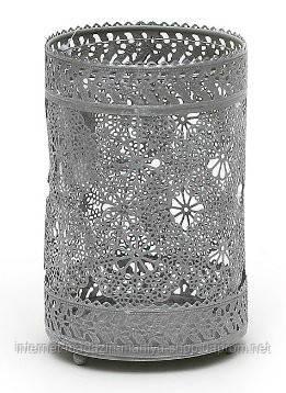 """Подсвечник металлический """"Кружево"""" со стеклянной колбой, цвет - серый"""