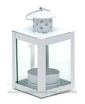 Подсвечник в форме фонарика со стеклом, цвет белый