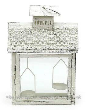 Фонарик на 2 свечи в форме домика, цвет - белый антик