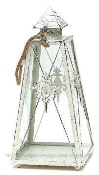 """Подсвечник в форме фонарика со стеклом """"Вензель"""", цвет - белый антик"""