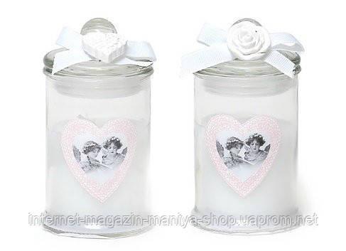 Свеча ароматизированная (малая) в стекле с декором (94г), аромат: розовая вода