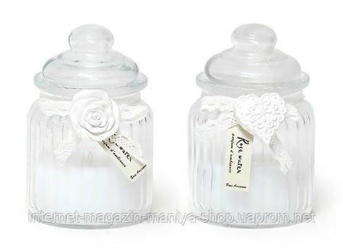 Свеча ароматизированная в банке с декором (130г), аромат: розовая вода
