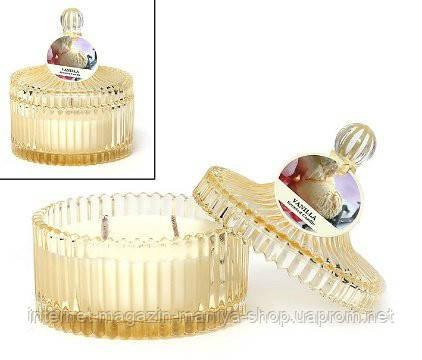 Свеча ароматизированная в стекле с крышкой (120г), аромат: ваниль