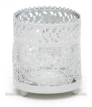 """Подсвечник металлический """"Кружево"""" со стеклянной колбой, цвет - белый"""