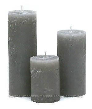 Свеча цилиндрическая 10см, цвет - мягко-серый