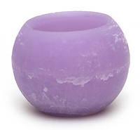Свеча пустотелая в форме шара 12см, цвет - лавандовый