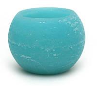 Свеча пустотелая в форме шара 12см, цвет - лагуна
