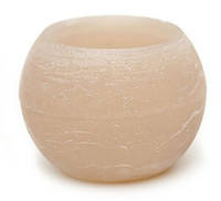 Свеча пустотелая в форме шара 12см, цвет - льняной