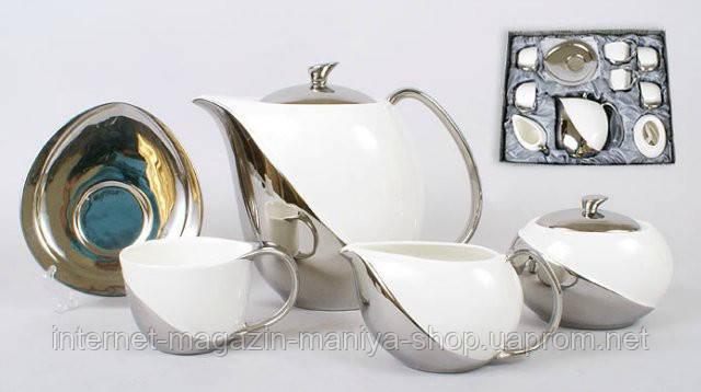 Набор 15 предметов: 6 чашек + 6 блюдец + чайник + молочник + сахарница