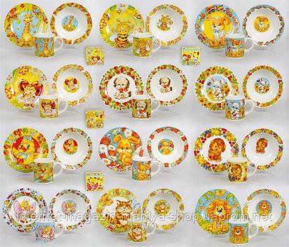 Детский набор: чашка, тарелка, глубокая тарелка