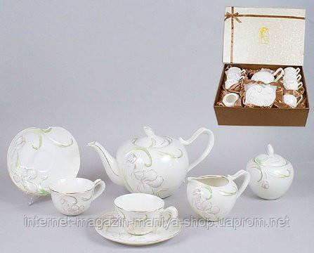 Сервиз 15 пред.: 6 чашек + 6 блюдец + чайник + сахарница + молочник