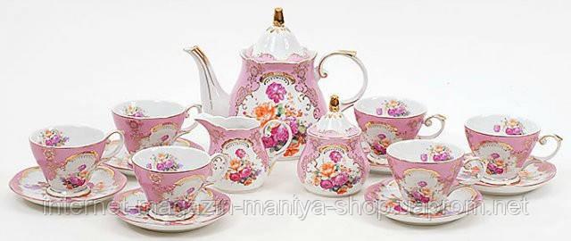 15пр. чайный набор: 6 чашек + 6 блюдец + молочник+ сахарница + чайник