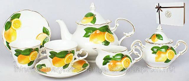 15 пр. чайный набор: 6 чашек + 6 блюдец + чайник + молочник + сахарница (фактурный рисунок)