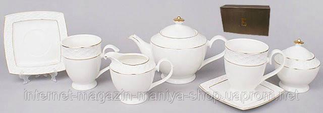 15пр. Чайный сервиз: 6 чашек + 6 блюдец + чайник + сахарница + молочник