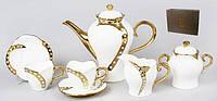Сервиз 15 предметов: 6 чашек + 6 блюдец + чайник + сахарница + молочник