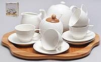 Набор: чайник + 4 чашки + молочник + сахарница на бамбуковой подставке