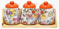 Набор банок с керамическими ложками на деревянной подставке 300мл Лето в Европе