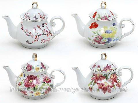 Чайник фарфоровый 1100мл, 4 вида