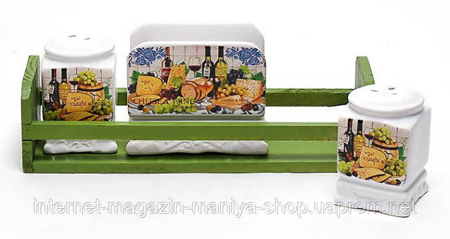 Солонка, перечница и салфетница на деревянной подставке, серия Cheese&Wine
