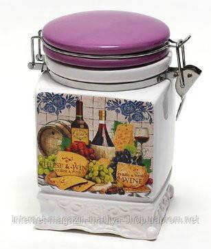 Банка керамическая на затяжке 840мл, серия Cheese&Wine