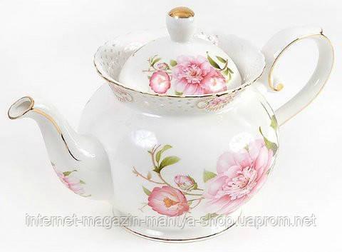 """Чайник фарфоровый 1200мл """"Китайская роза"""""""