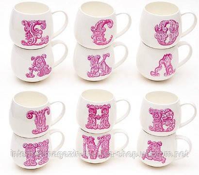 Кружка фарфоровая 425 мл Алфавит (12 видов), розовый