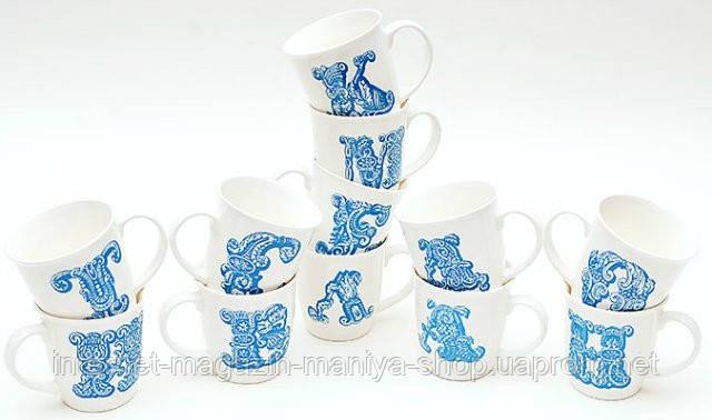 Кружка фарфоровая 425 мл Алфавит (10 видов), голубой