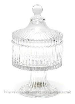 Сахарница стеклянная на подставке 19см