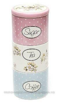 Сет из 3х керамических банок кофе/чай/сахар Cottage Flower 850+850+800мл