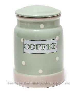 Банка керамическая Coffee зеленая в горох 850мл