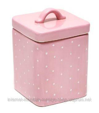 Банка керамическая квадратная розовая в горох 950мл
